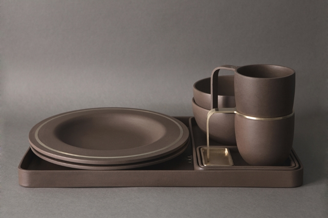 """Slavic"" ceramic laid whith metal elements"