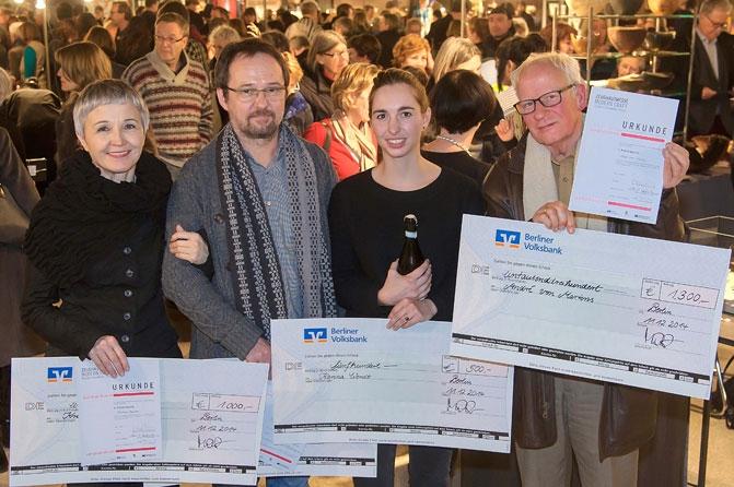 Preisträger 2014, von links nach rechts: Kariina Karinen, Hubert Steffe, Karina Wendt und Hans Jürgen von Martens,Foto: Berliner Volksbank, Jürgen Rocholl